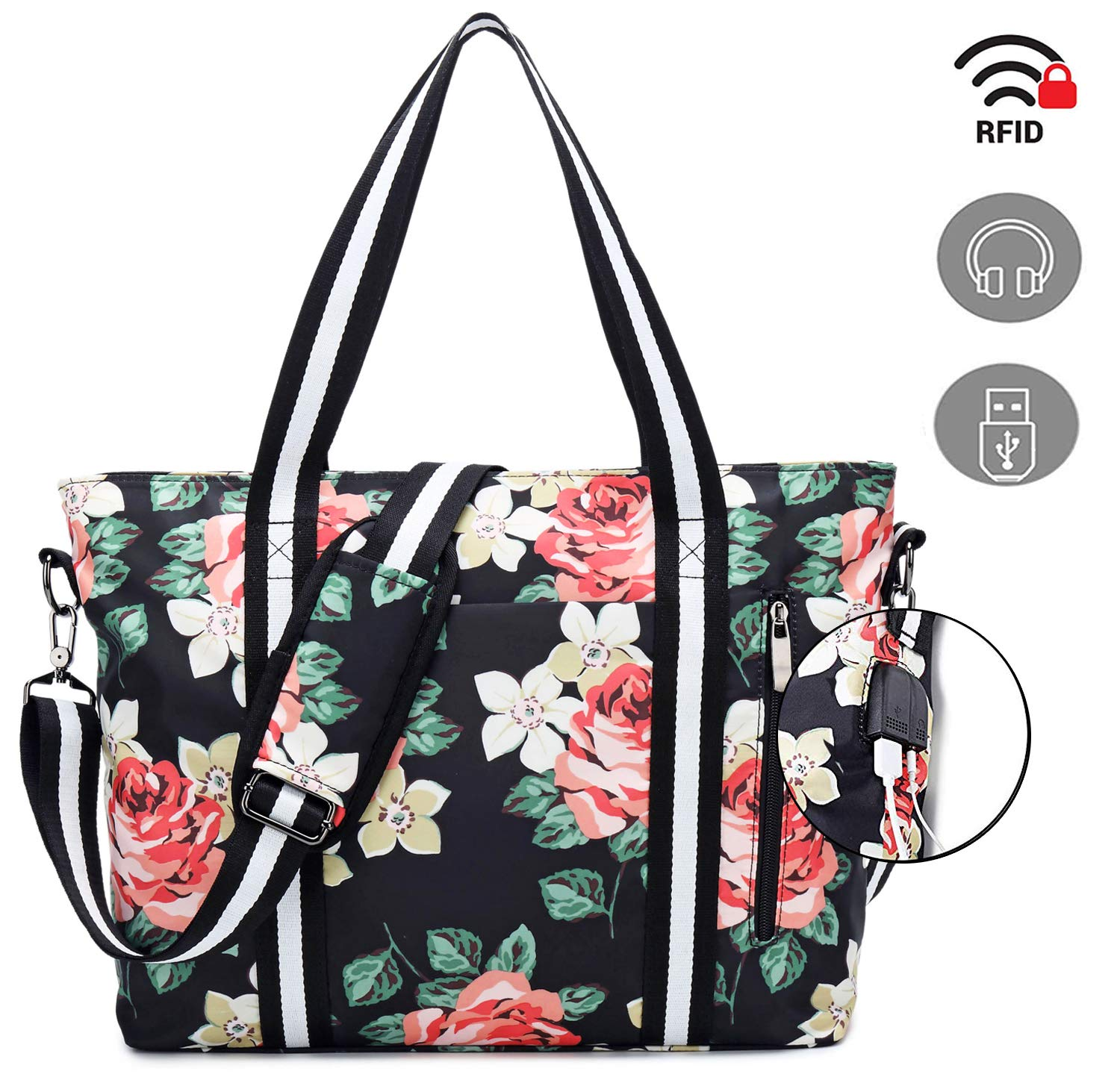 Laptop Tote Bag with USB Charging Port by Meisohua